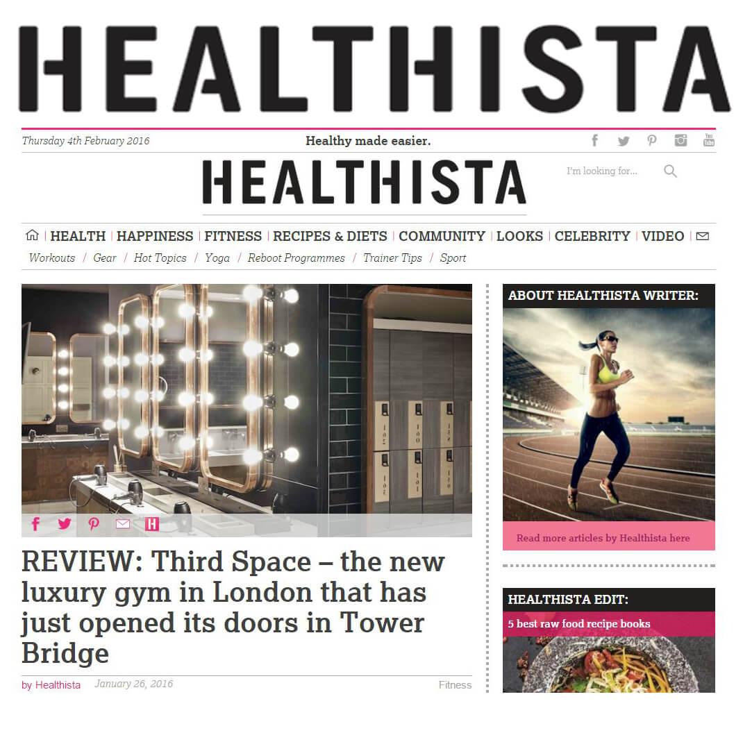 Healthista website review - Third Space - Tower Bridge